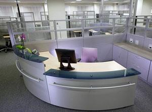 metal reception desk